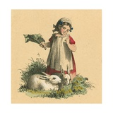 Girl with Her Rabbits Giclee Print by  English School