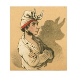 Young Man and Bull Shadow Giclee Print by  English School