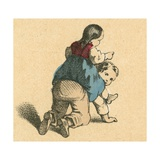 Girl Riding a Boy Giclee Print by  English School