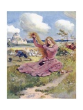 Blow, Ye Breezes, Blow, I Say, Blow the Goose-Herd's Hat Away Giclee Print by William Henry Margetson