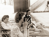 Eva Braun Shooting with Her 16mm Camera, 1942 Photographic Print by  German photographer