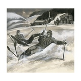 Skiiers and Snow Machines Giclee Print by Ron Embleton