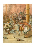 Attacked by Pirates Giclee Print by Carl Marr