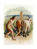 Cain and Abel at Work Giclee Print by John Lawson