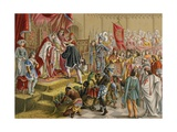 The Spanish Monarchs Receive Columbus in Barcelona after This First Voyage Giclee Print by Ramon Puiggari