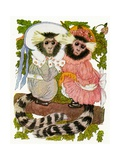 "'The Marmoset Twins', 1913 Giclee Print by M.T. ""Penny"" Ross"