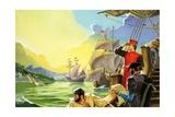 Amerigo Vespucci Sighting America Giclee Print by Severino Baraldi