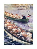 Rowing Race Between British and Germans Giclee Print by Cyrus Cuneo