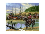 Texan Cowboys Driving Cattle North Giclee Print by Ron Embleton