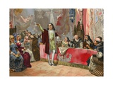 Columbus before the Junta of Salamanca Giclee Print by Josep or Jose Planella Coromina