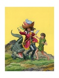 Peter Pan, Captain Hook and the Crocodile Giclee Print by Quinto Martini
