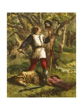 Robin Hood and Guy of Gisborne Giclee Print by Sir John Gilbert