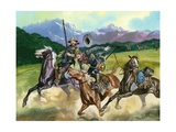 Indians Attacking Miners Who Had Failed to Make their Fortune Giclee Print by Ron Embleton