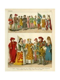 French Costume 1400 Giclee Print by Albert Kretschmer