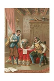 Kepler and Tycho Brahe in the Observatory in Prague Giclee Print by J. Ventura