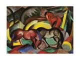 Three Horses, 1912 Impression giclée par Franz Marc