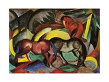 Three Horses, 1912 Gicléetryck av Franz Marc
