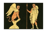 Oedipus and the Sphinx Giclee Print by  English School