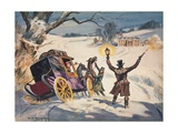 Carriage Stuck in the Snow Giclee Print by Derek Charles Eyles