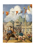 Little John Defeats Eric of Lincoln Giclee Print by Newell Convers Wyeth