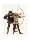 Robin Hood Trains Young Archer Giclee Print by Newell Convers Wyeth