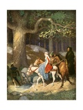 Country Folk Wending their Way to the Tourney Giclee Print by Newell Convers Wyeth
