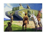 Tank on the Western Front Giclee Print by Severino Baraldi