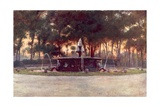Sea Horse Fountain in the Villa Borghese Giclee Print by Alberto Pisa