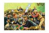 The Court Case of Temple Lee Houston Turned into a Running Gun Battle Giclee Print by Harry Green
