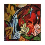 The Waterfall, 1912 Reproduction procédé giclée par Franz Marc