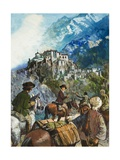 The Hamis Lamasery, High in the Himalayas Giclee Print by Clive Uptton