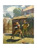Little John Wrestles at Gamewell Giclee Print by Newell Convers Wyeth