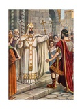 Emperor Theodosius Forbidden by St Ambrose from Entering Milan Cathedral Giclee Print by Tancredi Scarpelli