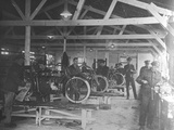 A WWI Motorcycle Repair Shop Photographic Print by English Photographer