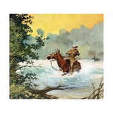 Tschiffely and His Horse Being Swept Down a River Giclee Print by Ferdinando Tacconi