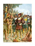 Spaniards Being Welcomed by a Indian Chief Who Offers Them Cakes, Fruit and Wine Giclee Print by Tancredi Scarpelli
