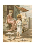 Jesus, as a Boy, Playing with Doves Giclee Print by John Lawson