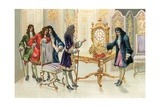 Christiaan Huygens Presenting the Pendulum Clock to Louis XIV Giclee Print by  Spanish School