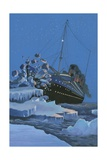 The Titanic Collides with an Iceberg on the 28th Aprl 1912 Giclee Print by  English School