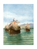 The Departure of Cristopher Columbus' Three Ships Giclee Print by Tancredi Scarpelli