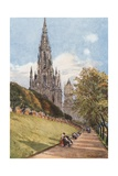 Sir Walter Scott's Monument from the East Princes Street Gardens Giclee Print by John Fulleylove