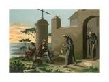The Arrival of Columbus at La Rabida Giclee Print by Ramon Puiggari