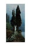 A Statue in a Lake Landscape, 1911 Giclee Print by Paul von Spaun