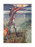 Sir Bedevere Casts the Sword Excalibur into the Lake Giclee Print by Walter Crane