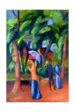 Walking in the Park, 1914 Giclee Print by Auguste Macke