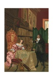Descartes Discussing Philosophy with Queen Christina of Sweden Giclee Print by Josep or Jose Planella Coromina