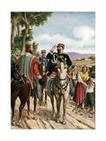 Historic Meeting at Teano Between Victor Emmanuel II and Garibaldi, 1860 Giclee Print by Tancredi Scarpelli