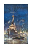 Illumination of the Fleet in the Thames, July 21St, 1909 Giclee Print by Charles Mills Sheldon