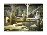 Canadian Soldiers Working in a Sawmill, Quesmy, Oise, France, 1917 Giclee Print by Fernand Cuville