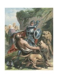 The Battle of Great-Heart with Giant Grim and the Lions Giclee Print by Gustav Bartsch